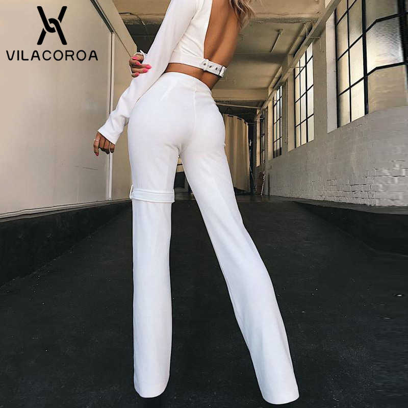 White High Waist Zipper Women Pants Black Straight Office Lady Trousers Women Pantalon Femme Sexy Long Stretch Pencil Pants