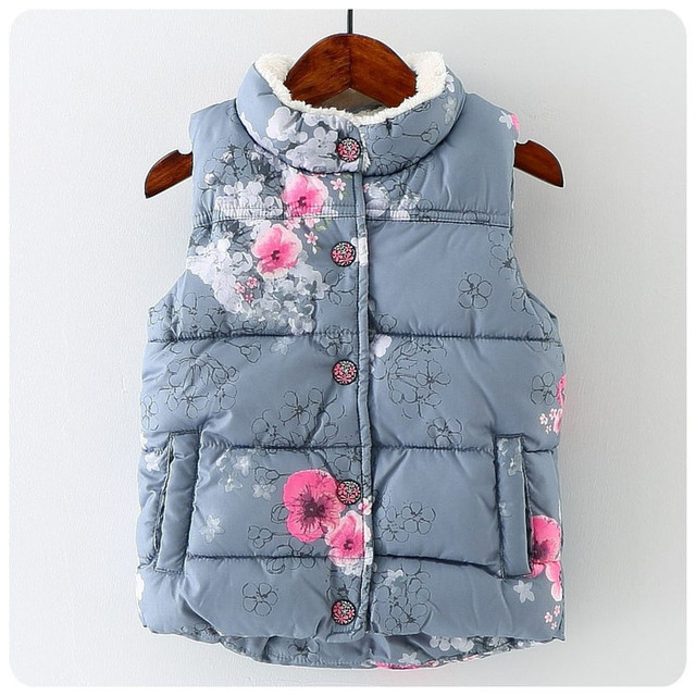 Зима новорожденных девочек жилет толщиной с ватки детей жилет цветочный печати теплый малышей детская одежда жилет костюм девушки
