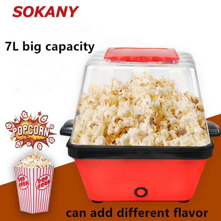 Large capacity Electric Popcorn Maker Hot Air Popcorn Making Machine Kitchen Mini DIY Corn Maker can add in Different Ingredient цена и фото