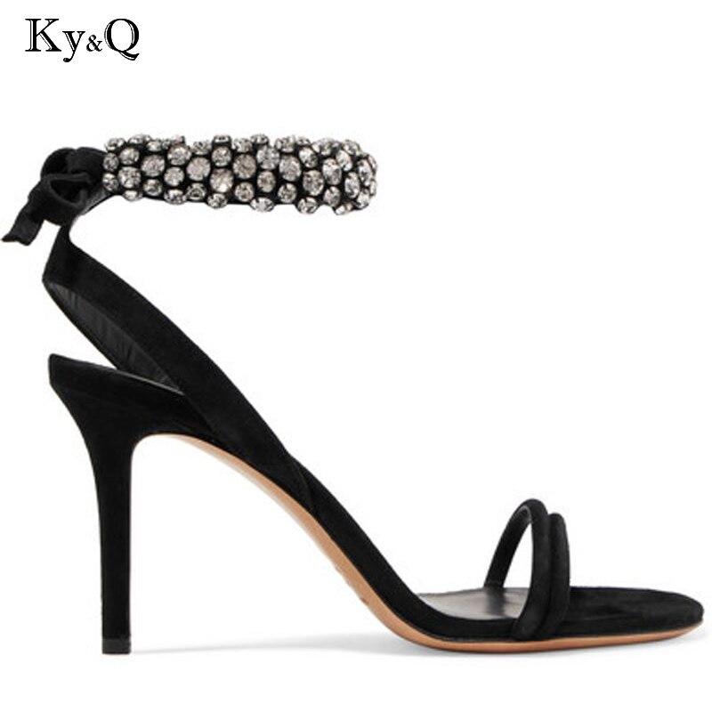 Boucle Nouveau Chaussures Pointu Sandales Diamant Mode Talon Bout Cristal 9cm Sexy Talons Couverture Transparent Fille 7cm Partie Supérieure Haute Pompes R7qR01