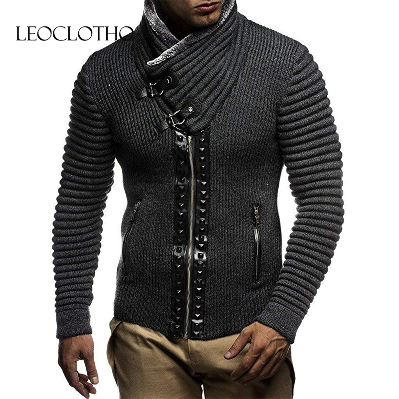 LEOCLOTHO Men Turn-down Collar Sweater Warm Coat Fashion Design Short Coat Slim Fit Comfortable Casual Sweater Homme Coat