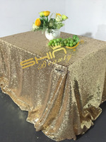 ShinyBeauty 90 By 132 Rectangle Sequins Table Linen 6ft Light Gold Sequin Tablecloth For Wedding Event
