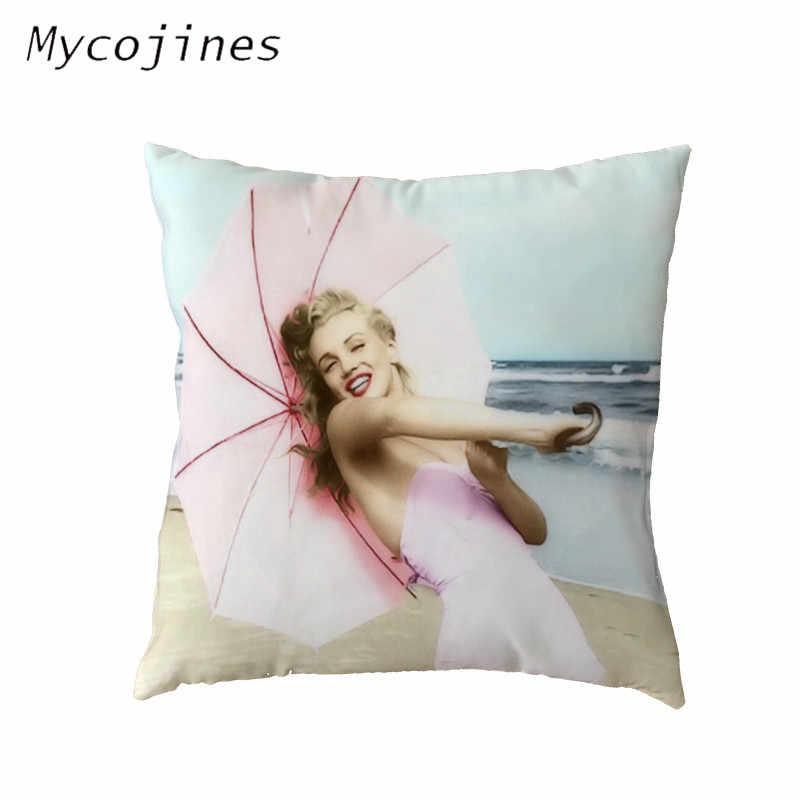 Bonita Marilyn Monroe Capas de Almofada de Poliéster Pele de Pêssego 45*45 cm Presente De Aniversário Em Casa Sofá Cadeira Decoração Jogar Travesseiro casos