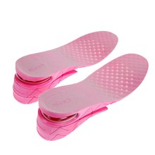 1 Pair 7 CM 3-Layer Sport Insole Air Cushion Heel Insert Increase Height Lift Soft PVC Shoe Pad For Men and Women Pink(China)
