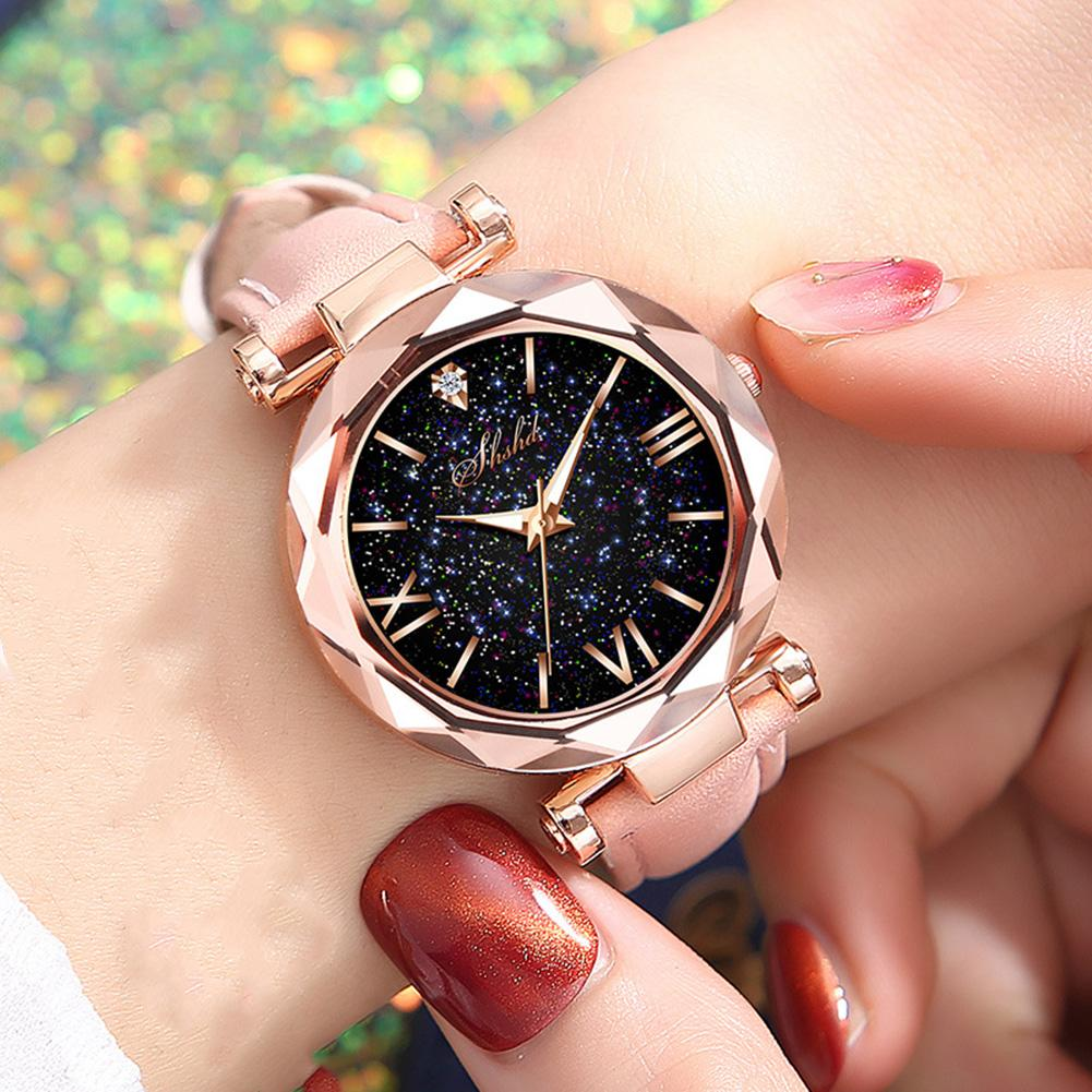 Fashion Women Starry Sky Watch Round Dial Roman Number Faux Leather Band Quartz Wrist Watch