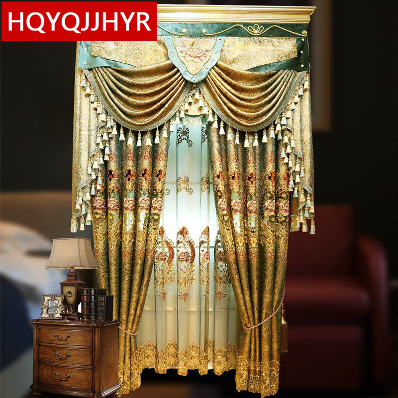 European Luxury Royal Classic Embroidered Shade Curtains For Living Room With High-grade Voile Curtain For The Bedroom /Kitchen