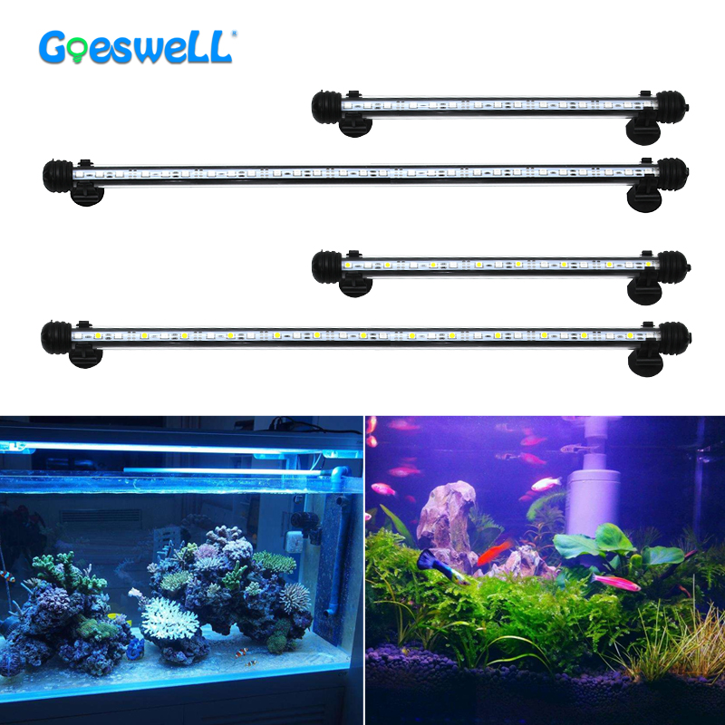 30CM 50CM Waterproof LED Aquarium Light 110V 220V RGB 5050 White Blue Fish Tank Pool Underwater Submersible Lights Air Pump Lamp 18cm 30cm aquarium led strip bar light tube 1w 2 4w waterproof submersible fish tank lamp smd5050 white blue decor lighting
