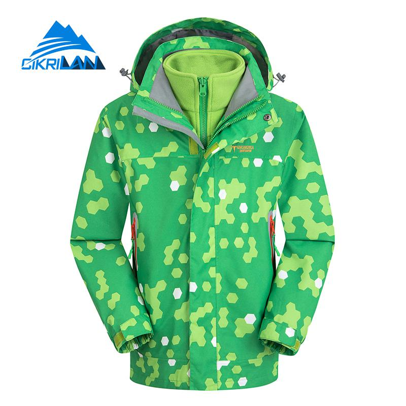Hot 3in1 Kids Leisure Windbreaker Waterproof Fleece Inner Ski Snowboard Coat Outdoor Camping Hiking Winter Jacket Boys Girls hot sale camping climbing kids 3in1 outdoor sport waterproof jacket girls boys hiking coat ski casaco 8 16y child fleece liner