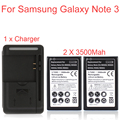 2 x 3500mah Replacement Batteria for Samsung Galaxy Note 3 III N9000 N9005 N900A N900 N9002 Battery + 1 Wall Charger