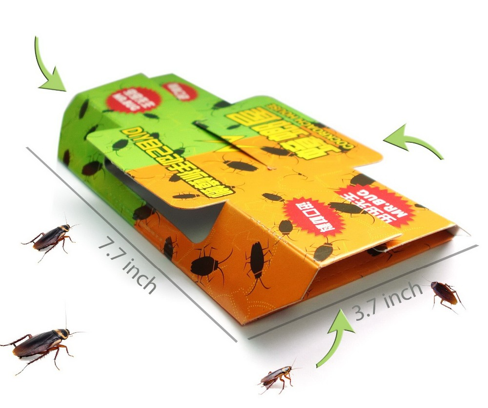 Save Much! 10pcs Pack Mr Bug Cockroach Trap sticker adhesive box Cockroach killer house, Non-toxic, free shipping !