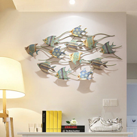 American Wrought Iron Fish Wall Hangings Ornamntes Home Livingroom Wall Mural Decoration Hotel Bar Wall Sticker Accessories Art