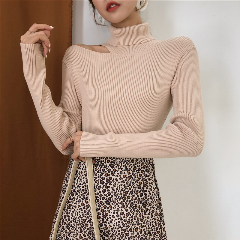 Colorfaith Women Pullovers Sweater 19 Knitting Autumn Winter Turtleneck Sexy Hollow Out Off Shoulder Casual Ladies Tops SW755 6