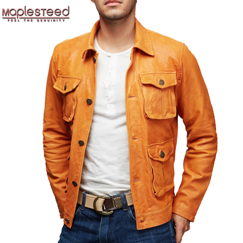 MAPLESTEED Genuine Leather Jacket Men Leather Coat Vegetable Tanned Matte Genuine Goat Skin Pockets Yellow Male Leather Coat 158
