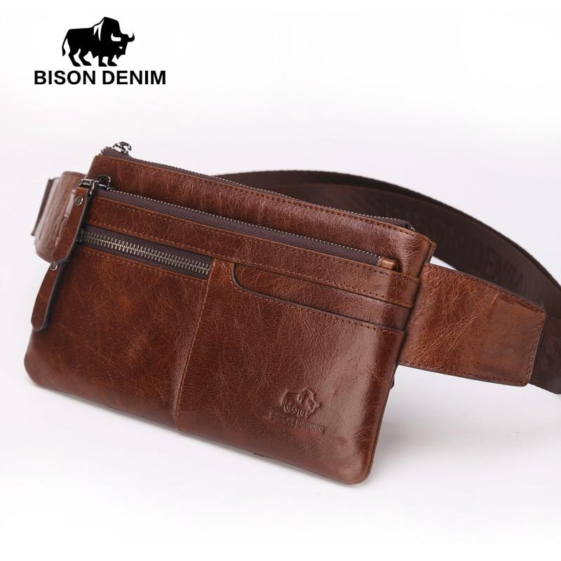 Bison Denim Vintage Genuine Leather Waist bag Ipad Mini Cowhide waist pack bag money belt waist