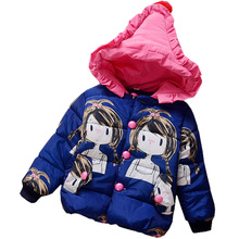 Baby Girls Jacket &Coats 2016 new Brand Cartoon doll Kids Winter Outerwear Hooded Baby Girls Coat 1-3Y and 3color