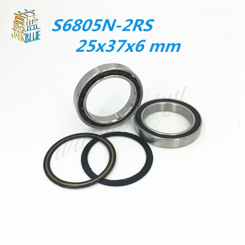 2pcs 6805N 6805N-2RS SI3N4 stainless steel hybrid ceramic bearing 25x37x6 6805N 25376 bike wheel bottom bracket bearing BB51 HT2 6805n hybrid ceramic bearing 25x37x6mm 1 pc bicycle bb51 bottom hub 6805 rd 6805n rs 25376 rs si3n4 ball bearings 6805n 2rs