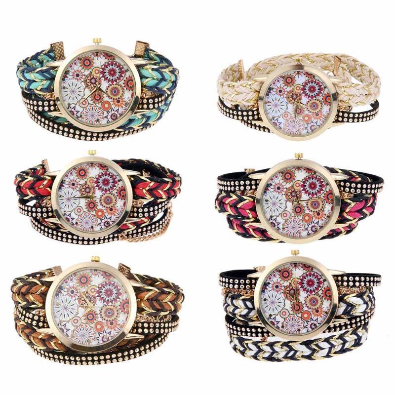 Vintage Women Rhinestone Woven Strap Bracelet Alloy Quartz Watch Bracelet