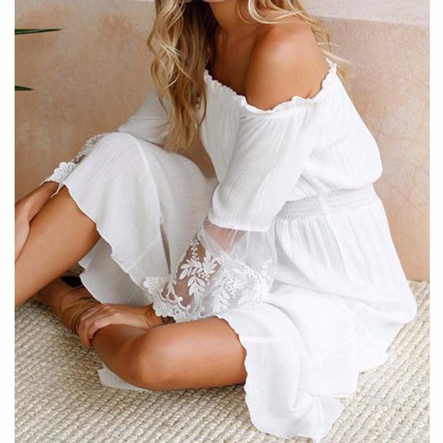 Summer Sundress Long Women White Beach Dress Strapless Long Sleeve