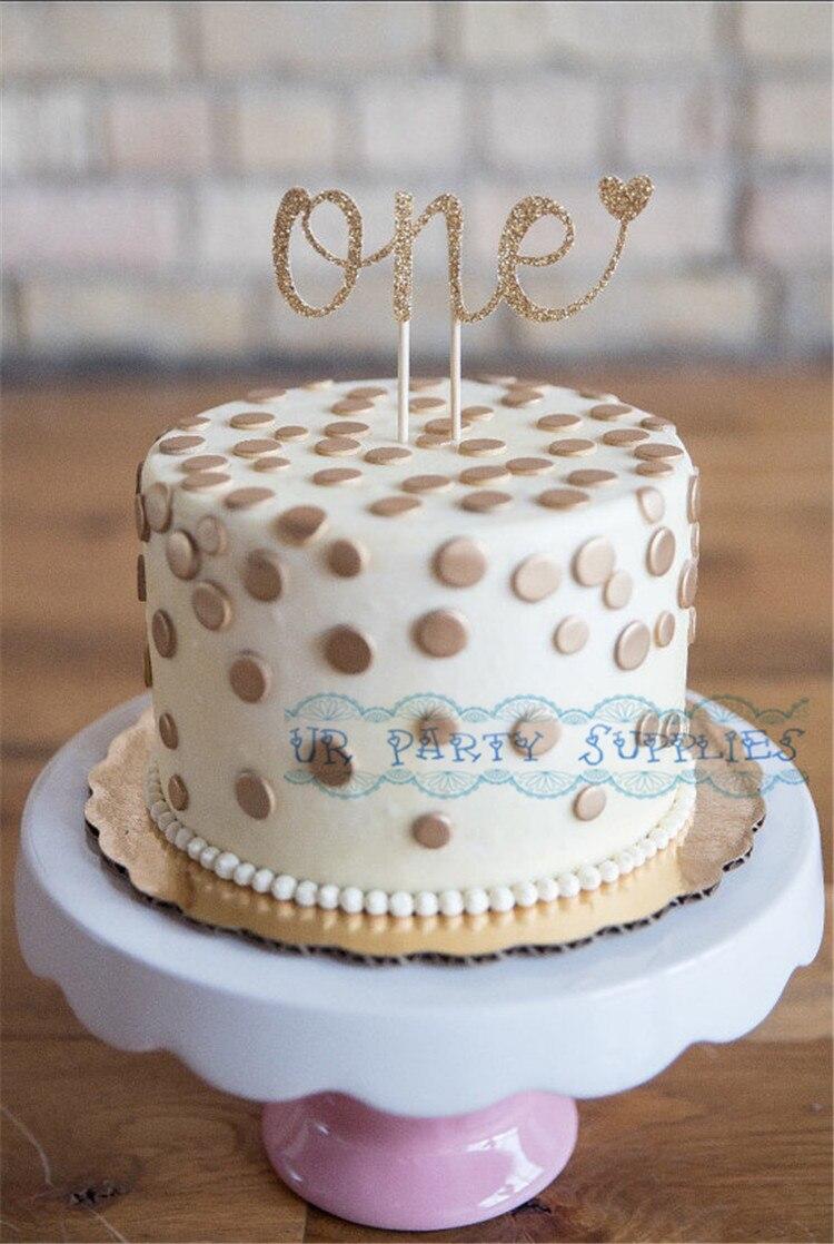 One Cake Topper 1stFirst Birthday Cake Smash Topper Glitter Gold
