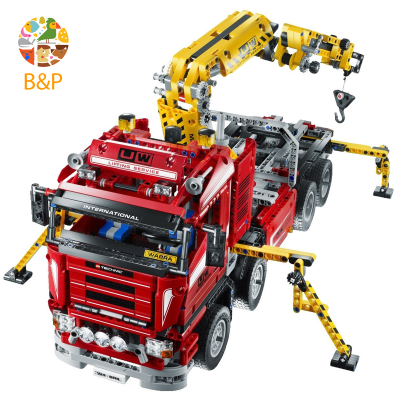 lepin Legoing 8258 1877pcs Technic Series The Crane Truck Wrecker Model Building Blocks Brick For Children Gift 20013 new lepin 20013 technic series 1877pcs the electric crane truck model building blocks bricks compatible 8258 toy christmas gift