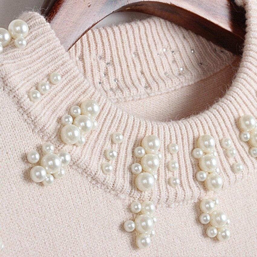 Femme Hiver Piste Qualité Haute Élégant Apricot Perles black Mode Chandails Chandail Tricoté Femmes Designer Perle Tops Pulls Pull AqfZEw