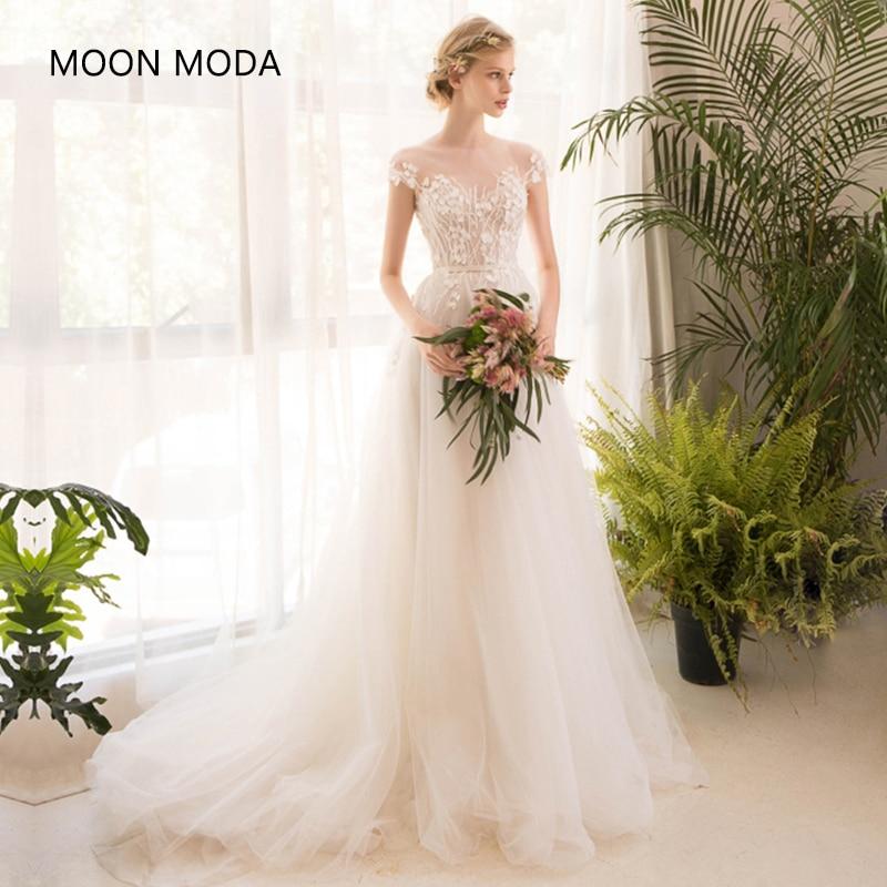 С длинным рукавом Половина свадебное кружевное платье высокого класса 2018 Невесты Простой свадебное платье Настоящее фото Weddingdress Vestido De Noiva Boho Русалка