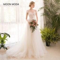 Longo meia manga vestido de casamento de renda high-end 2019 noiva simples vestido de noiva real foto weddingdress sereia noiva boho