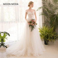 Long Half Sleeve Lace Wedding Dress High End 2018 Bride Simple Bridal Gown Real Photo Weddingdress
