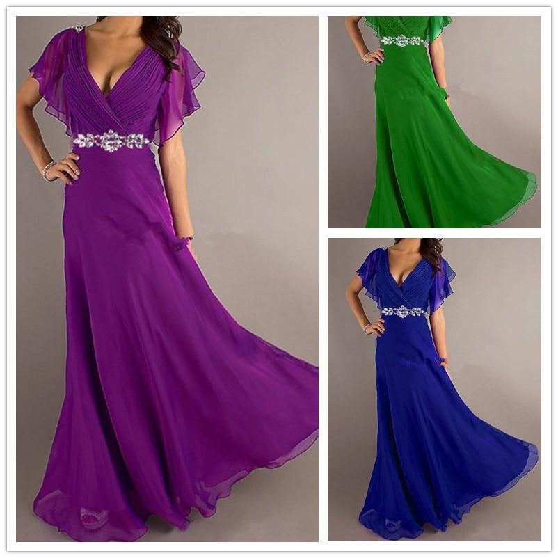 Pretty Girl V Neck Wiht Lengan Ungu Abu-abu Biru Royal Maxi Pesta Elegan Ditambah Ukuran Malam Dress Panjang 2015 Hot Custom