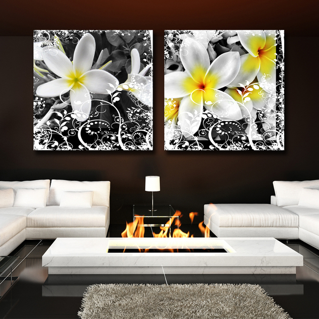GenDi 2pcs Set Home Decor Flower Simple Canvas Printed Modern Black White Nature Plant Square