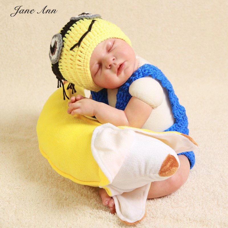Jane Z Ann Crochet Minions Costume newborn photography props cotton yarn Hat + Pants Set Handmade Infant Baby Photo outfits-in Hats u0026 Caps from Mother ... & Jane Z Ann Crochet Minions Costume newborn photography props cotton ...
