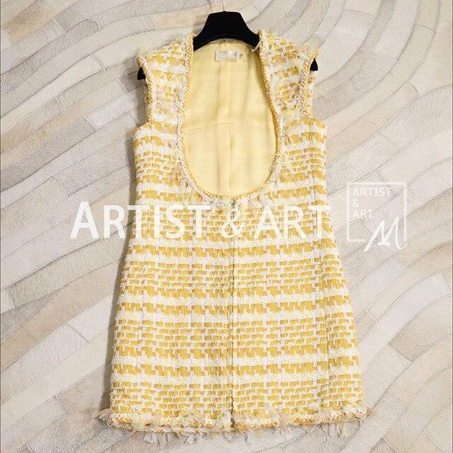Дизайнер взлетно посадочной полосы пользовательские осень платье на бретелях Для женщин Смешанное тканые U Тип Элегантный High End Гусь желтое
