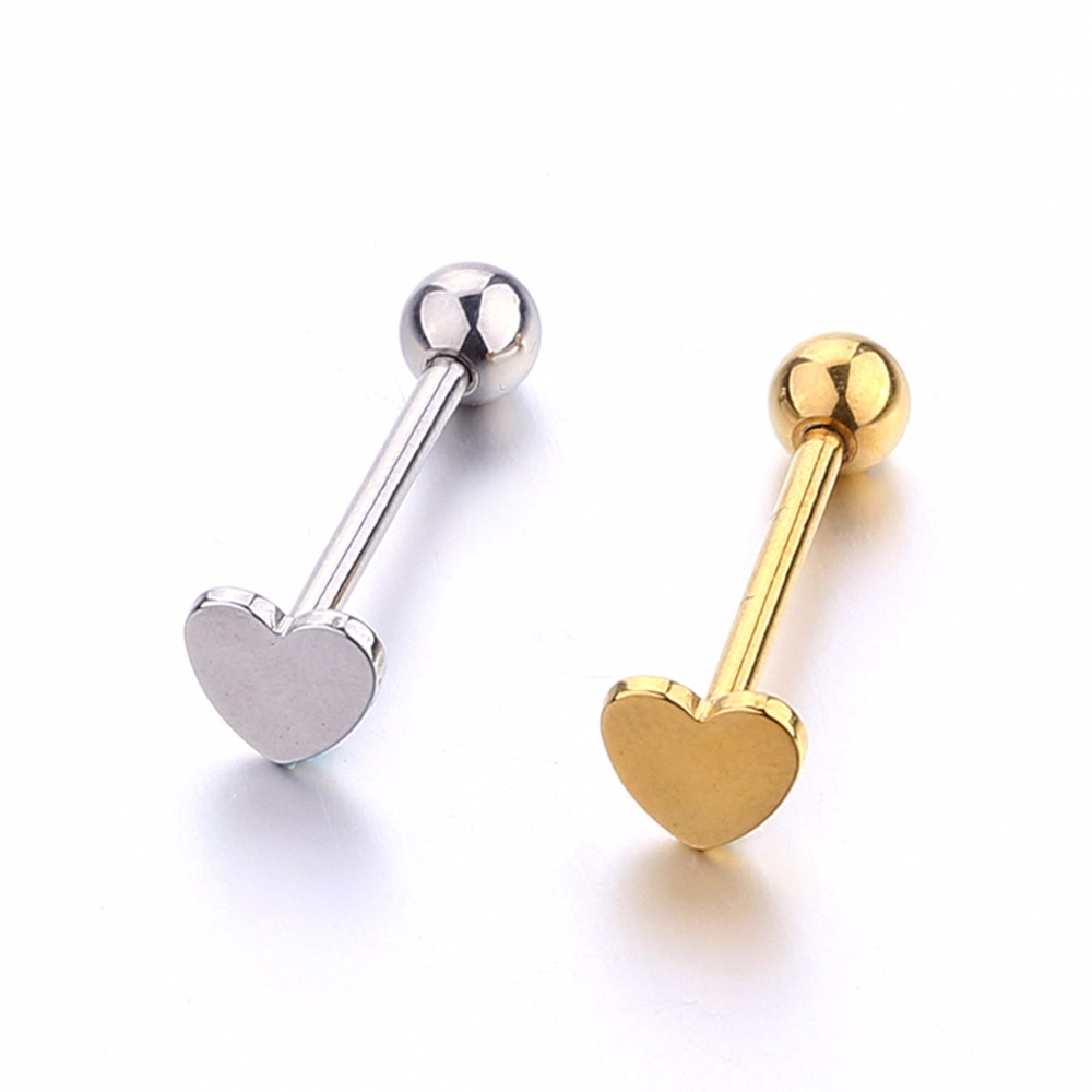 Heart tongue ring polished stainless steel tongue stud woman man fashion tongue piercing jewelry gold silver 1-2 pcs