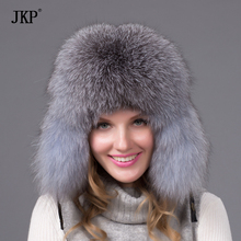 Bomber leather hat with fashion high quality tarps Ear shield HJ-07 winter female fox hat