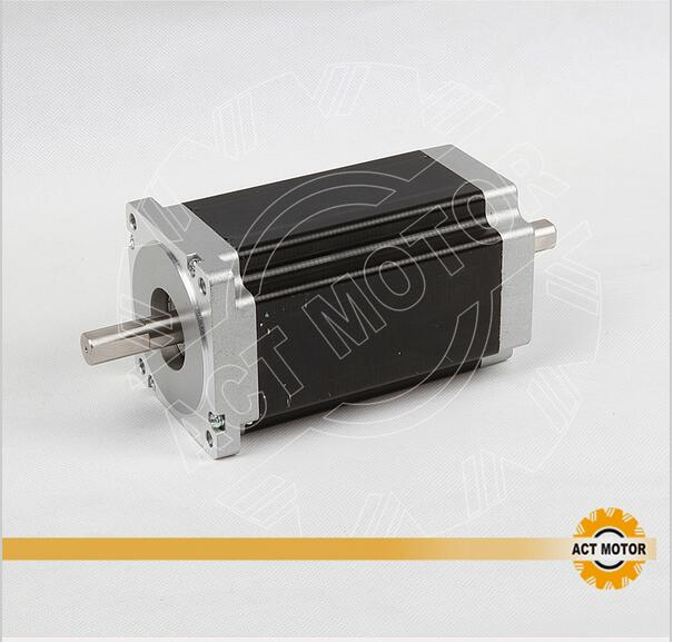 ACT Motor 1PC Nema34 Stepper Motor 34HS1456B Dual Shaft 4-Lead 1232oz-in 118mm 5.6A Bipolar CE ISO ROHS act motor 3pcs nema34 stepper motor 34hs1456b dual shaft 4 lead 1232oz in 118mm 5 6a bipolar ce iso rohs us de uk it jp free