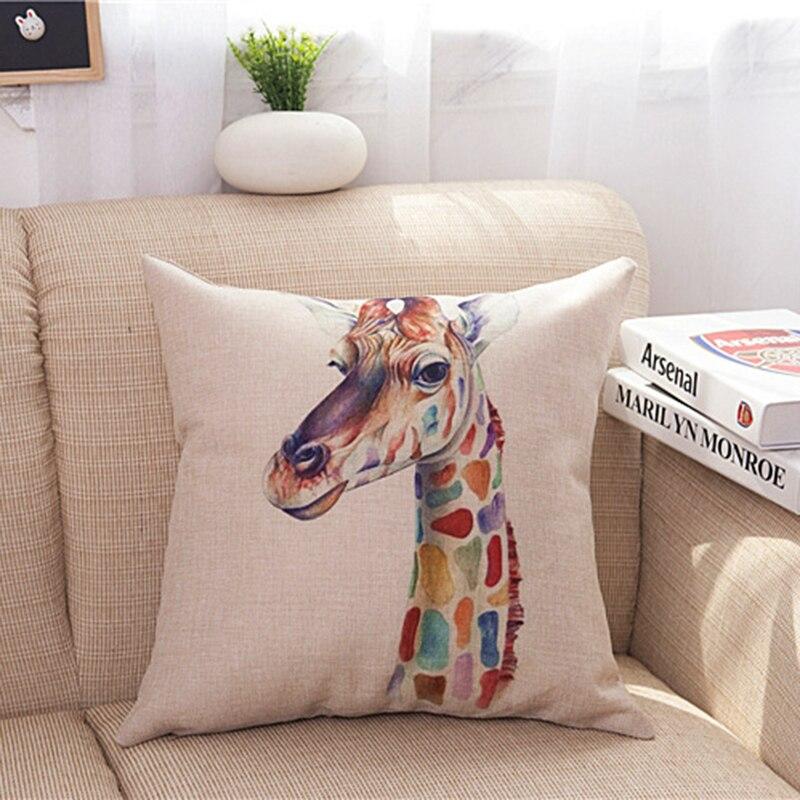 Animal Pillow Covers Zebra Deer Giraffe Pillow Case Colorful Animals Cushion Cover for Home Sofa Car Decoration Pillowcase