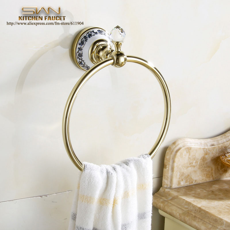 ФОТО Free Shipping Luxury Crystal & Brass Gold Towel Ring Towel Holder Towel Bar Bathroom Accessories Free Shipping 3471901