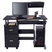 Goplus компьютерный стол портативных ПК рабочей станции мебель для дома и офиса современный ЖК доска для записей с полка для принтера HW53469