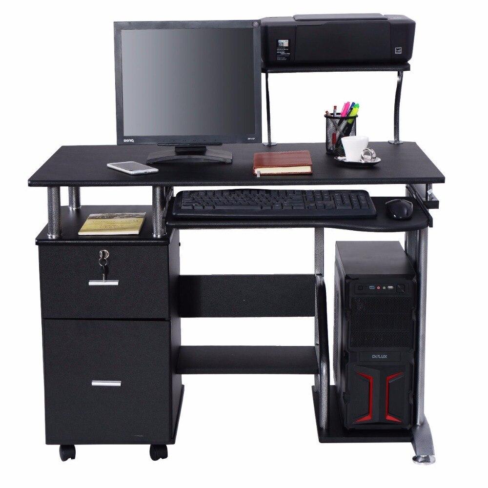 Goplus стол компьютера PC ноутбук станции таблицы Офисная мебель современные исследования дать настольных с принтером полки hw53469
