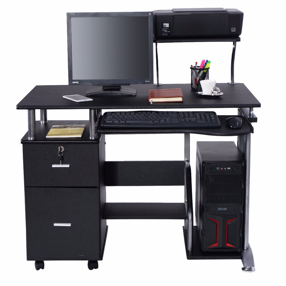 Goplus Computer Desk PC Laptop Table WorkStation Home Office Furniture Modern Study Writing Desktop with Printer Shelf HW53469