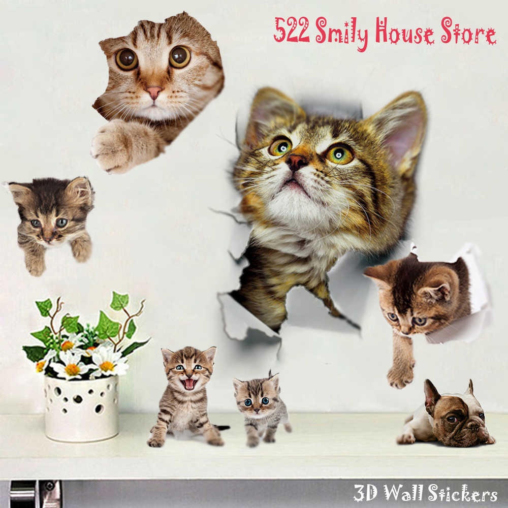 1PC 3D Leuke DIY Cat Decals Adhesive Familie Muurstickers Raam Decoraties Badkamer Toilet Seat Decor Keuken Accessoires