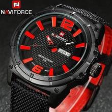 NAVIFORCE relojes de los hombres militar Deportes relojes de Cuarzo auto fecha semana 3ATM impermeable de nylon de lujo marca moda casual relojes