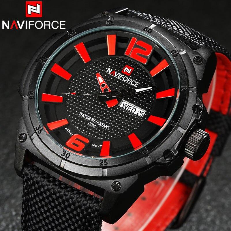 Naviforce relojes hombres Militar deportes Relojes de cuarzo marca de lujo moda casual auto fecha semana 3atm impermeable nylon Relojes