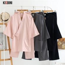 KISBINI סתיו פיג מה סטים לנשים נשי מוצק בית בגדי חליפת כותנה ארוך יפני סגנון גבירותיי Homewear אביב Pyjama