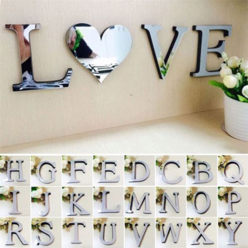 26 Letters Silver Mirror Alphabet Wall Sticker Acrylic