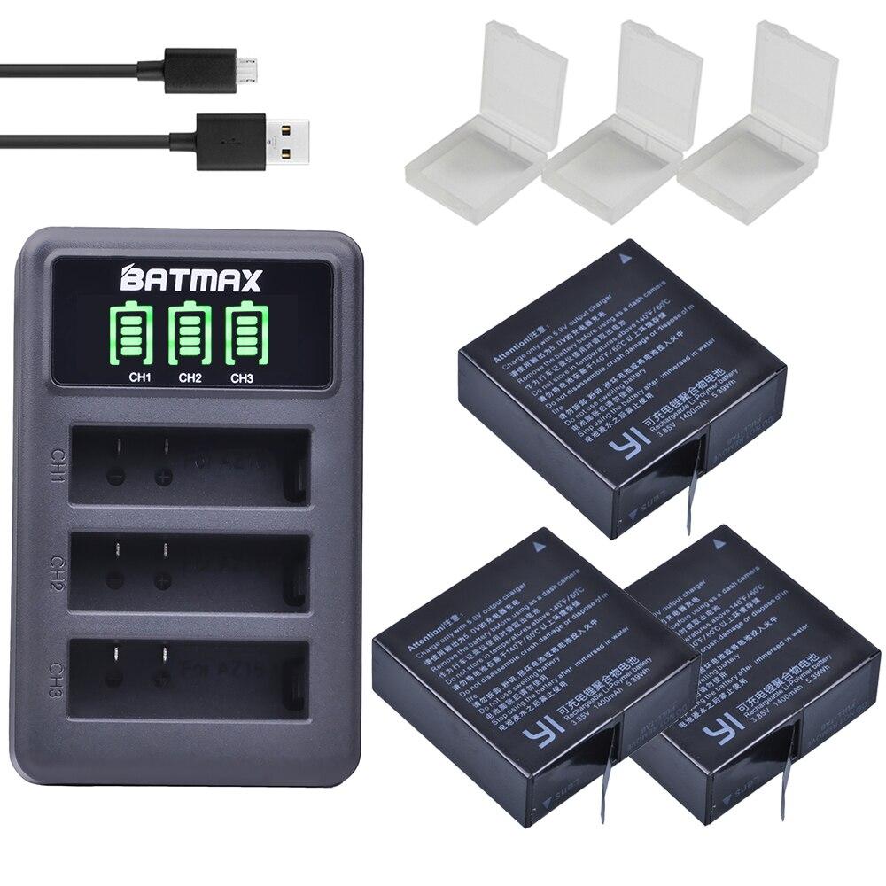 V unids 3 piezas AZ16-1 V 3,85 baterías para Xiaomi YI lite 2 4 K 4 K + LED USB 3 ranuras cargador para Xiao yi 4 K acción Cámara batería