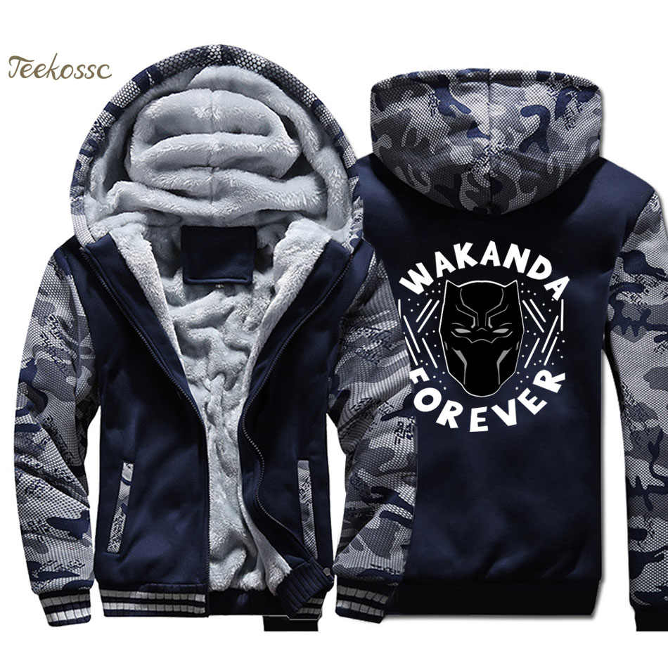 Black Panther Wakanda Hoodie Coat Men Killmonger Hooded Sweatshirt Winter  Fleece Thick Movie Jacket Camouflage Sportswear d7139fab0