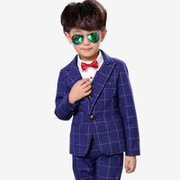 2019 New Baby Boy Suit For Wedding Piano Party Children Boys Plaid Blazer+Vest+Pant Sets Kids Boys Suits Formal Clothes 3Pcs Y82