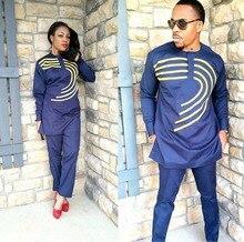 여자를위한 아프리카 드레스 부드러운 소재 자수 디자인 드레스 frican 남자 옷 lc083