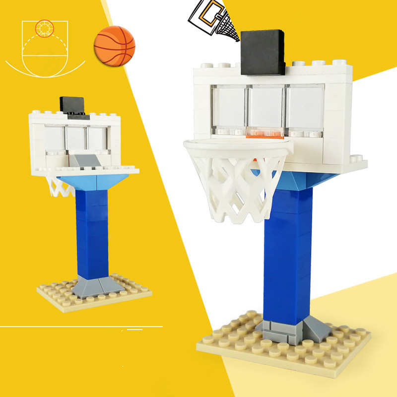Legoings Basketball Stand Blocks Building Blocks Field Court Baseplate For Figure MOC Accessories DIY Toys For Children